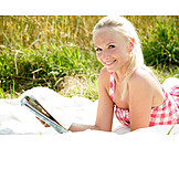 Young Woman, Leisure, Summer, Reading