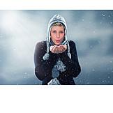 Woman, Winter, Snowing