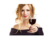 Young Woman, Indulgence & Consumption, Wine, Red Wine