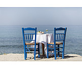 Table, Mediterranean sea, Greece, Tavern