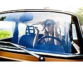 Young woman, Car, Road trip, Car driver, Driving mirror