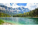 Mountain range, Mountain lake, Eibsee
