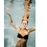 Woman, Diving, Cooling