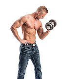Young man, Dumbbell, Training, Dumbbell training