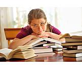 Child, Learning, Homework, Schoolgirl