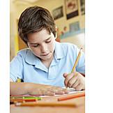 Boy, Child, Drawing, Homework