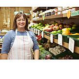 Sales executive, Female shop owner, Vegetable department, Farm shop
