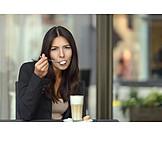 Woman, Latte, Try