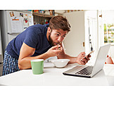Young Man, Mobile Communication, Laptop, Smart Phone