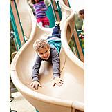 Boy, Child, Slide, Playground