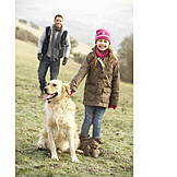 Child, Girl, Father, Dog