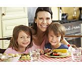 Child, Mother, Healthy Diet, Lunch
