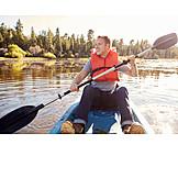 Man, Paddling, Kayak