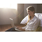 Woman, Laptop, Bedroom