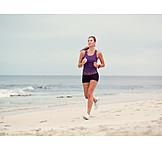 Woman, Beach, Running