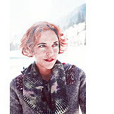 Woman, Winter, Red hair, Portrait