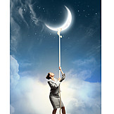 Business woman, Challenge, Lunar phase, Pull