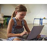 Girl, Using, Laptop, Chatting