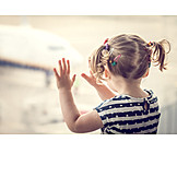 Girl, Airplane, Watching