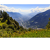 Valley, View, South tyrol, Merano