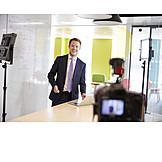 Geschäftsmann, Business, Online, Seminar, Filmen, Vlog