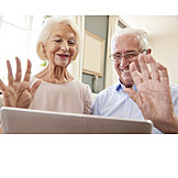 On The Phone, Online, Waving, Webcam, Older Couple