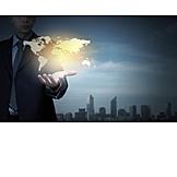 Geschäftsmann, Business, Handel, Weltweit, Weltkarte