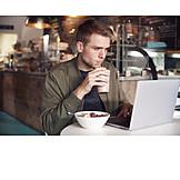 Man, Cafe, Breakfast, Laptop