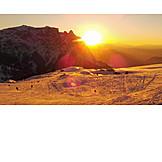 Sunset, South tyrol, Dolomites, Schlern mountain