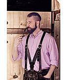 Man, Smoking, Style, Bavarian, Lederhosen