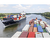 Container ship, Waterway, Kiel canal