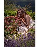 Woman, Summer, Flower garden