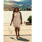 Woman, Shopping bag, Summer sundress