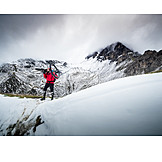 Snow, Mountainous region, Mountain biker