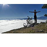 Mountain top, Hiker, Arms outstretched