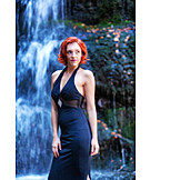 Woman, Waterfall, Evening gown