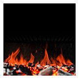 Flame, Glut, Charcoal grill