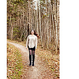 Woman, Autumn, Walk