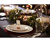 Table cover, Christmas dinner, Place card