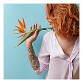 Woman, Red hair, Bird of paradise