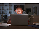 Boy, Laptop, Online