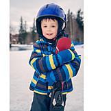 Kind, Skifahren, Schutzhelm