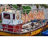 Drying, Fishing boat, Dried fish