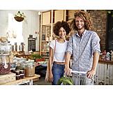 Couple, Shopping, Ecologically