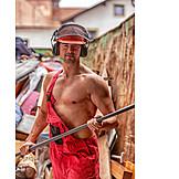 Man, Overalls, Muscular build
