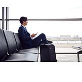 Businessman, Business, Airport, Waiting