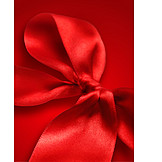 Red, Bow, Silk Ribbon