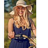 Woman, Sun hat, Cycling