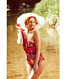 Woman, Sun hat, Swimsuit