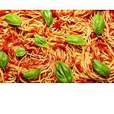 Basil, Spaghetti, Tomato Sauce